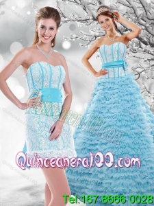 Wholesale 2015 Light Blue Quinceanera Dresses with Beading and Ruffled Layers