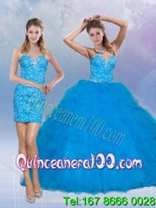 Wholesale 2015 Sweetheart Sequined Teal Quinceanera Dresses with Ruffles