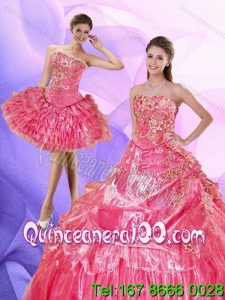 Wholesale Watermelon 2015 Quinceanera Dress with Appliques and Pick Ups