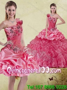 Wholesale and Pretty Watermelon 2015 Quinceanera Dress with Appliques and Ruffles