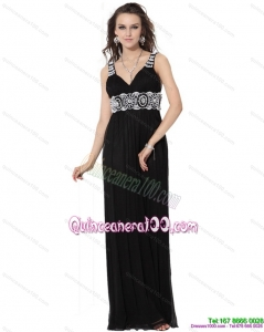 2015 Cheap Black Long Dama Dresses with White Appliques