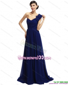 Cheap 2015 One Shoulder Ruffled Navy Blue Dama Dresses with Hand Made Flower