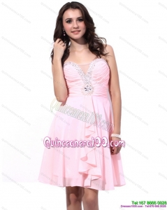 Cheap Baby Pink Dama Dresses with Beading and Ruching
