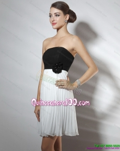 Cheap Strapless Ruching and Hand Made Flower Dama Dresses in White and Black