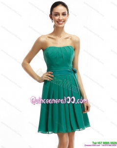 Strapless Ruching and Sash 2015 Cheap Short Dama Dresses in Green