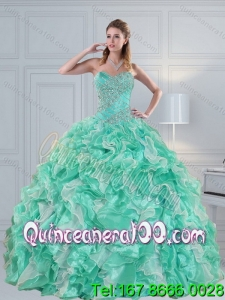 Wholesale Apple Green Sweetheart 2015 Quinceanera Dresses with Ruffles and Beading
