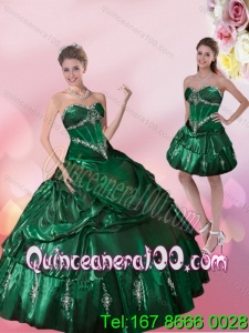 Wholesale Sweetheart Dark Green Quinceanera Dresses with Beading and Appliques for 2015