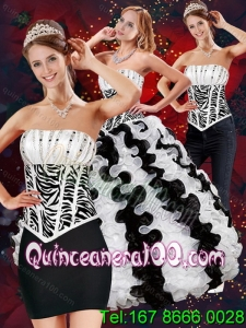 Wholesale Zebra Print Dresses for Quince with Beading and Ruffles for 2015