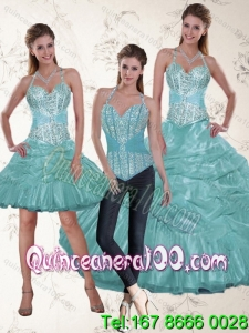 Wholesale and Fashionable Halter Top Aqua Blue Quince Dresses with Beading and Ruffles