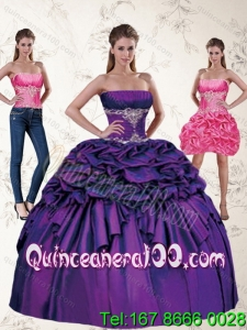 Wholesale and Wonderful Purple Quince Dresses with Appliques and Pick Ups for 2015