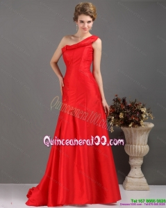 Cheap One Shoulder Pleated Red Dama Dresses with Brush Train