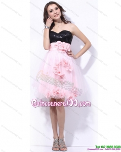Cheap Sweetheart Sequins and Hand Made Flowers Dama Dresses in Pink and Black