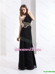 2015 Cheap One Shoulder Beading Dama Dress in Black