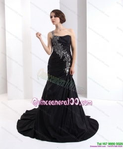 2015 Cheap One Shoulder Dama Dress with Brush Train
