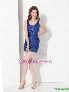 2015 Cheap Sequins Scoop Dama Dress in Royal Blue