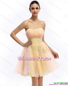 2015 Cheap Strapless Multi Color Dama Dress with Beading and Ruching