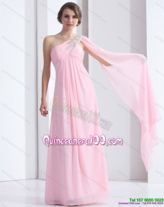 Cheap 2015 One Shoulder Baby Pink Dama Dress with Ruching and Beading