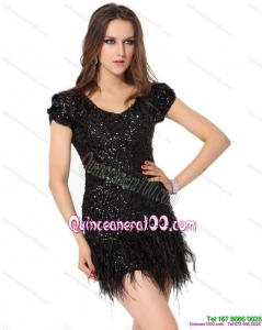 Cheap Black Mini Length Dama Dress with Sequins and Macrame
