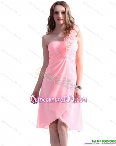 2015 Baby Pink One Shoulder Dama Dresses with Ruching and Hand Made Flowers