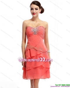 2015 Mini Length Sweetheart Dama Dresses with Rhinestones and Ruching