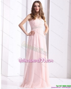 Baby Pink Strapless Dama Dresses with Ruching and Beading for 2015