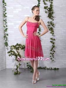Beading Spaghetti Straps Ruching Coral Red Dama Dresses for 2015