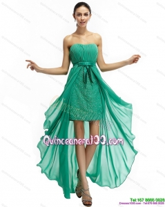 Green High Low Beading Dama Dresses with Ruching and Bowknot for 2015