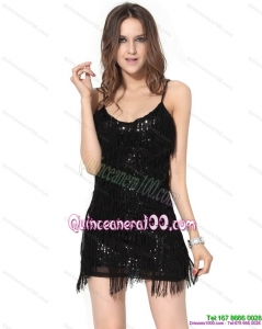 New Style Black Sequins Mini Length Dama Dresses with Macrame