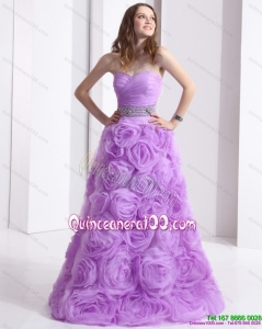 New Style Lilac Sweetheart Dama Dresses with Rolling Flowers and Sequins