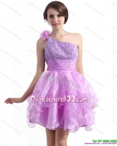 New Style One Shoulder Lilac Dama Dresses with Beading and Hand Made Flower