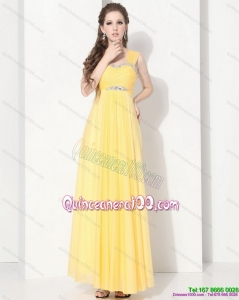 2015 Floor Length Dama Dresses with Ruching and Beading