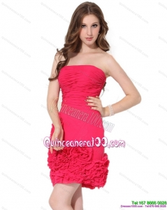 2015 Popular Strapless Mini Length Dama Dresses with Ruching