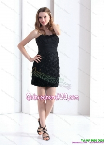 Black Sweetheart Mini Length 2015 Dama Dresses with Ruching and Rolling Flowers