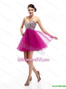New Style Hot Pink Sweetheart Dama Dresses with Rhinestone