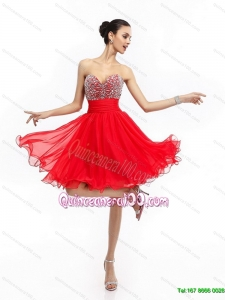 New Style Sweetheart Short Dama Dresses with Rhinestones and Ruching