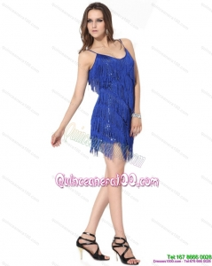 Spaghetti Straps Short Dama Dresses with Sequins and Macrame for 2015