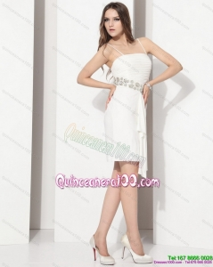 White Spaghetti Straps Dama Dresses with Ruching and Beading for 2015