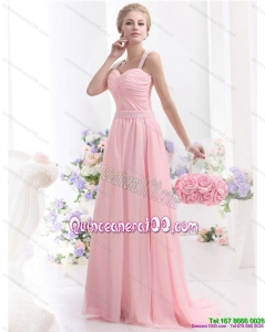 Remarkable 2015 Baby Pink Dama Dress with Brush Train and Ruching