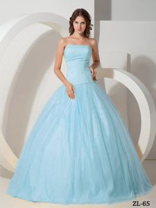Fabulous Light Blue Strapless Beading Quinceanera Dresses Gowns