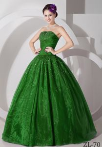 Best-selling Spring Green Beaded Sweetheart Dresses For a Quince