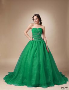 Gorgeous Sea Green Sweetheart Chapel Train Beading Quinceanea Dress