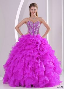 Ruffles Sweetheart Beaded Fuchsia Quinceanera Gowns of Sweet 16
