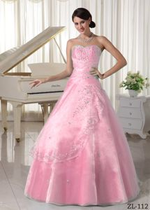Baby Pink Sweetheart Quinceanera Gown with Appliques and Overskirt