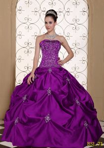 Popular Purple Sweet Sixteen Dresses with Embroidery and Pick-ups