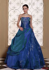 Classic Strapless Quinceanera Dress with Embroidery and Overskirt