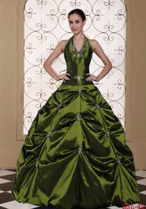 Exquisite Halter Embroidered Olive Green Dress for Quinceaneras