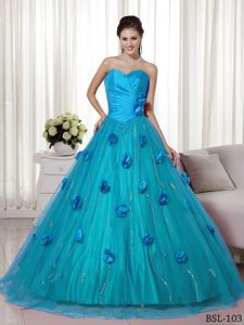 Aqua Sweetheart Brush Train Quince Dresses with Hand Made Flowers