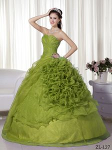 Olive Green Sweetheart Organza Beading and Ruffle Dresses 15