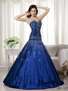 Sweetheart Taffeta Beading and Embroidery Blue Quince Dresses