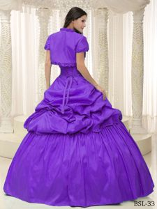 Modest Purple Sweetheart Appliques Quinceanera Gown with Jacket